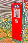 Retro Gas Pump - Color Print by Dan Stone