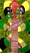 Stripe Drawings - Retro Guitar by Michelle Young