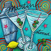 Lemon Painting Posters - Retro Martini Poster by Lisa  Lorenz