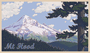 Timberline Framed Prints - Retro Mount Hood Framed Print by Mitch Frey