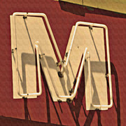 Retro Framed Prints - Retro Neon Letter M Framed Print by Anthony Ross