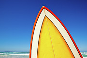 South Australia Prints - Retro Surf Board At Beach, Australia Print by John White Photos