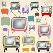 Past Digital Art Prints - retro TV pattern  Print by Setsiri Silapasuwanchai