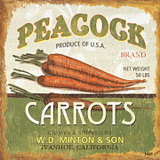 Peacock Tapestries Textiles - Retro Veggie Label 2 by Debbie DeWitt