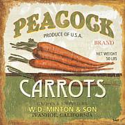Retro Veggie Label 2 Print by Debbie DeWitt