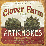 Red Prints - Retro Veggie Labels 1 Print by Debbie DeWitt