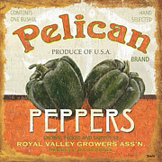 Food And Beverage Paintings - Retro Veggie Labels 3 by Debbie DeWitt