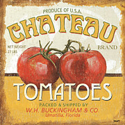 Tomato Framed Prints - Retro Veggie Labels 4 Framed Print by Debbie DeWitt