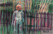 Drawing Painting Originals - Return of Pumpkinhead Man by Donald Maier