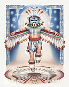 Amy S Turner Drawings - Return of the Blue Star Kachina - Alignment 2012 by Amy S Turner