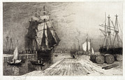 Ships And Boats Framed Prints - Return Of The Whaler, Etching Framed Print by Everett