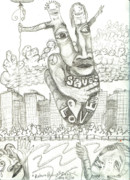 Face Drawings Posters - Return Peace Poster by Robert Wolverton Jr