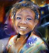 African-american Digital Art Prints - Returning A Smile Print by Bob Salo