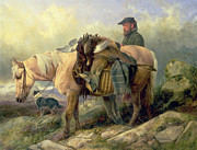 Pony Painting Framed Prints - Returning from the Hill Framed Print by Richard Ansdell