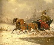 Winter Scenes Rural Scenes Painting Prints - Returning Home in Winter Print by Charles Ferdinand De La Roche