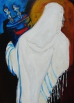 Prayer Shawl Paintings - Returning the Torah by Renee Kahn