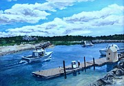 Northside Marina. Painting Posters - Returning to Sesuit Harbor Poster by Jack Skinner