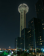 Reunion Tower By Night Print by John Kain