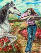 Horse  Pastels Paintings - Reunion by Yelena Rubin