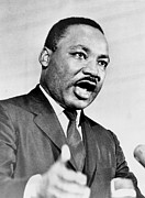 African-americans Photo Framed Prints - Rev. Martin Luther King, Speaking Framed Print by Everett