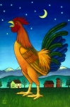 Farm Rooster Painting Framed Prints - Reveille Framed Print by Stacey Neumiller