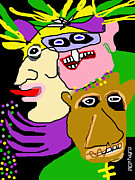Mardi Gras Drawings - Revelers by Doug  Duffey
