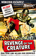 1950s Poster Art Photo Framed Prints - Revenge Of The Creature, 1955 Framed Print by Everett