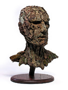 Surrealist Portrait Framed Prints - Revered A natural portrait bust sculpture by Adam Long Framed Print by Adam Long