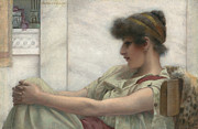 Concentration Painting Framed Prints - Reverie Framed Print by John William Godward