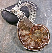 White Pearl Jewelry - REVERSIBLE Opalized Ammonite Fossil and Silver Wire-Wrapped Pendant by Heather Jordan
