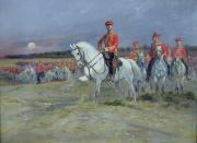 Russia Paintings - Reviewing the Troops by Jean Baptiste Edouard Detaille