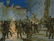Burning Painting Posters - Revolution in Florence Poster by Italian School