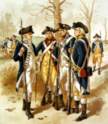 American Revolution Paintings - Revolutionary War Infantry by War Is Hell Store