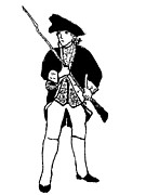 Colonial Man Digital Art Posters - Revolutionary War Militia Man Poster by Susan Carella