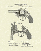Six Shooter Framed Prints - Revolver 1887 Patent Art Framed Print by Prior Art Design