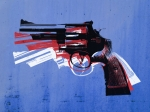Pistol Posters - Revolver on Blue Poster by Michael Tompsett