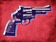 Pop Art Mixed Media Metal Prints - Revolver on Red Metal Print by Michael Tompsett