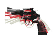 Bullet Prints - Revolver on White Print by Michael Tompsett