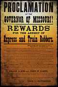Governor Framed Prints - Reward for Frank and Jesse James Framed Print by Bill Cannon