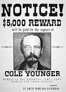 Old West Painting Prints - Reward poster for Thomas Cole Younger Print by American School