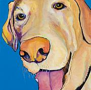 Yellow Lab Paintings - Rex by Pat Saunders-White