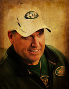 New York Jets Framed Prints - Rex Ryan - New York Jets Framed Print by Lee Dos Santos