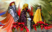 Tarjetas Framed Prints - Reyes Magos Framed Print by Estela Robles