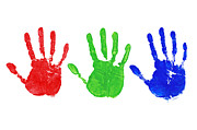 Rgb Framed Prints - RGB hand prints Framed Print by Richard Thomas