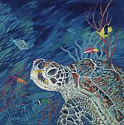 Green Sea Turtle Painting Metal Prints - Rhapsody in Blue Metal Print by Danielle  Perry