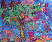 Fantasy Tree Tapestries - Textiles Posters - Rhapsody of Joy Poster by Heather Hennick