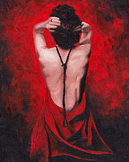 Red Drape Paintings - Rhea by Katia Zhukova