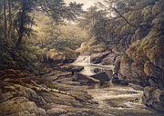 Waterfall Painting Posters - Rhiadr Ddu near Maentwrog North Wales Poster by John Glover