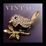 Vintage Jewelry Posters - Rhinestone Bird Pin Poster by Jai Johnson