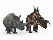 Rhinoceros Framed Prints - Rhino And Einiosaurus Dinosaur Framed Print by Walter Myers